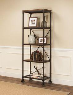 Rustic Elm Industrial 4 Shelf Bookcase In Black Brown