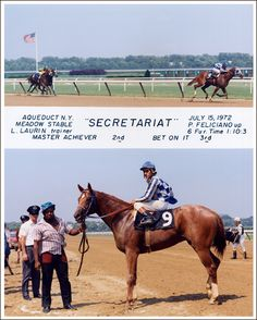 Maiden Win Photo - July 15, 1972. Kicking off Secretariat's magical racing career, we are pleased to offer the official winner's circle photo from Secretariat's maiden victory at Aqueduct Racecourse on July 15, 1972.