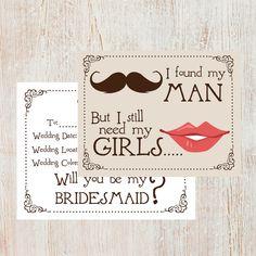 Bridesmaids Cards - Set of 8. $20.00, via Etsy.
