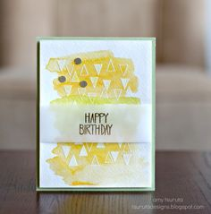 happy birthday triangles with white embossing, watercolor and vellum | Neat and Tangled