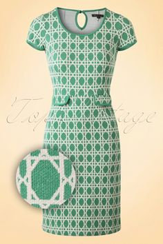 King Louie 60s Bistro Tulip Dress in Oil Green