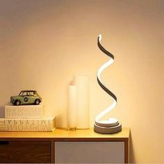 ELINKUME spirale LED Lampe de bureau 12W blanc chaud dimming incurvée lampe de table LED design minimaliste  Creative Acrylique