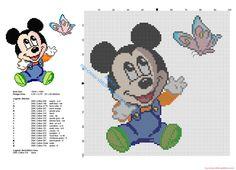 Disney baby Mickey Mouse con una mariposa patron punto de cruz