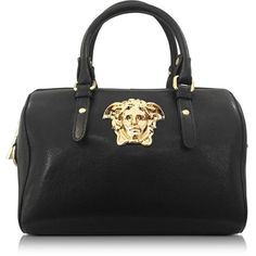 Versace Palazzo Black Leather Satchel (€1.240) ❤ liked on Polyvore featuring bags, handbags, black satchel, black studded handbag, leather satchel, leather satchel handbags and satchel purse