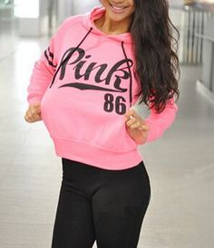 Hoodie Sweatshirt Nice Pink Letter Print and Stripes