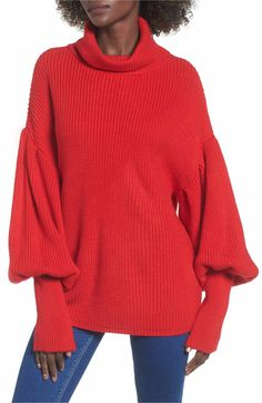 6446b0a95fd78d Main Image - Topshop Balloon Sleeve Turtleneck Sweater Leopard Print  Cardigan, Turtleneck, Fashion 2017