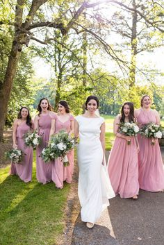 pink bridesmaids dresses mix and match Pink Bridesmaids, Bridesmaid Dresses, Wedding Dresses, Got Married, Getting Married, Waterford Castle, Father Daughter Dance, Irish Dance, Romantic Weddings