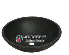 The 854 honed basalt black granite vessel sink is made from natural granite.
