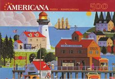"""500 Pieces -- """"Chug's Chowder House"""" -- Art by Jack Allen; Puzzle by MEGA Brands, Inc.; Copyright 2011; Completed size: 9"""" x 13.25""""; Purchased for 50 cents at Deseret Industries in Provo on 17 Dec 2014"""