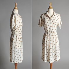 Vintage Polka Dot Day Dress  Summer Flowy White by GirlLeastLikely