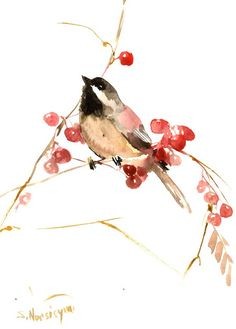 Chickadee and Berries Original watercolor painting by ORIGINALONLY