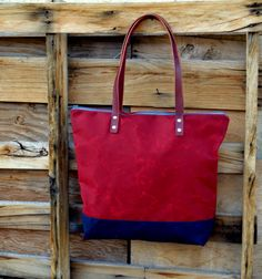 Waxed Canvas Zippered Tote with Leather Handles Bicolor by Zakken, $130.00
