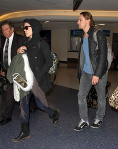 Neve Campbell and JJ Feild seen at LAX 19/11/2014