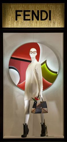 The Fendi FW15 collection displayed in the new boutique window theme in Milan.
