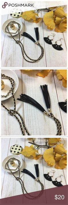 Black vegan suede fringe chain necklace Black vegan suede fringe chain necklace Jewelry Necklaces