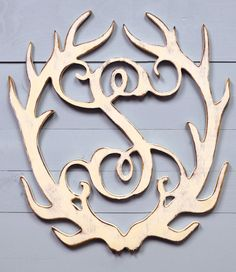 Shabby Chic Antler Monogram - perfect for our family room which now is decorated with all my girly stuff plus his deer mounts!