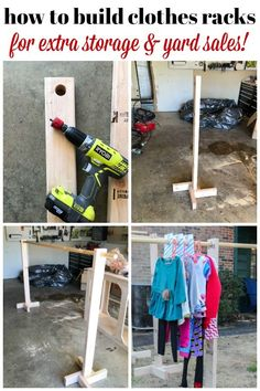 Need help with your home organization and clothes? Here is a DIY Clothes Rack with Free Printable Size Dividers! A fun DIY home decor project for the whole family. clothes rack DIY Clothes Rack for Garage Sales and Yard Sales Garage Sale Organization, Garage Sale Tips, Diy Garage, Diy Kleidung Upcycling, Rummage Sale, Diy Clothes Refashion, Diy Clothes Videos, Hanging Clothes, Garment Racks