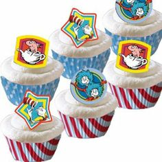 Cute Cupcake Toppers and Cups for Dr Seuss Party