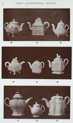 - top most left is the old matron of tea pots. srsly, nothing but strong black, NO SUGAR maybe some whiskey in dire circumstances.