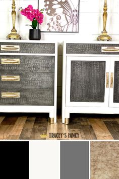 Mid century modern furniture with a neutral color palette. Click over to the blog to learn how to chalk paint furniture like this! Tracey Bellion #traceysfancy Tracey's Fancy Chalk Paint Color Palette Neutral Color Scheme Dixie Belle Paint Company Cavair Fluff Hurricane Gray Artistic Painting Studios Gold Foil Sheets Neutral Colors Chalk Paint Colors For Furniture Dixie Belle Chalk Paint Best Chalk Paint For Furniture Chalk Paint Techniques Gray And White Bedroom Ideas Gray Bedrom Color…