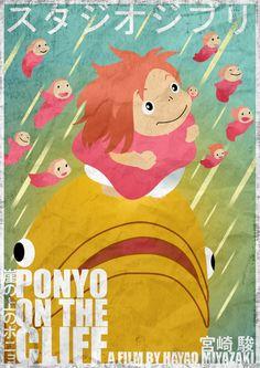 Ponyo [Hayao Mitazaki, 2008] «Studio Ghibli Minimal Movie Posters Author: Craig Mckeown»