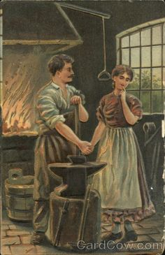 Man and Woman Holding Hands in Blacksmith Shop Romance & Love