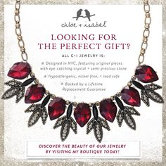 Amazing quality! Find the perfect statement piece for holiday or the ideal gift at my boutique. www.chloeandisabel.com/boutique/deedraschneider