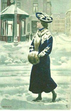 Kunstnerkort Andreas Bloch dame på byen med muffe utg Mittet brukt 1910-tallet