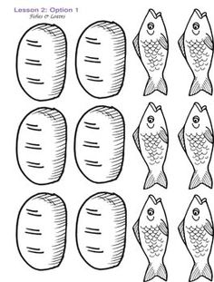 color sheet of 2 fish and 5 l | Toddler Downloadable Resources / L2 Fish Loaves Cutouts