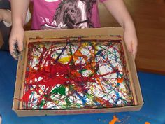 paper in box, drop different colours onsome marbels, shake them in the box