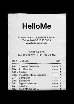 HelloMe is an international creative studio defining contemporary culture. The studio delivers creative direction, design, visual strategies and engaging experiences for brands in fashion, art and culture. Layout Design, Web Design, Logo Design, Graphic Design, Self Branding, Receipt Template, Pochette Album, Rainbow Aesthetic, Stationery Design