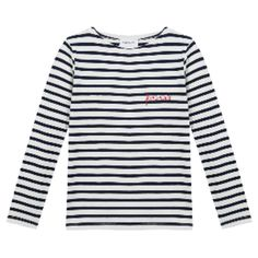 Stripe Feministe Long Sleeve Tee (€39) ❤ liked on Polyvore featuring tops, t-shirts, stripe t shirt, white long sleeve top, long sleeve t shirts, white t shirt and long sleeve tees
