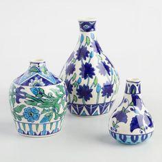 Blue Floral Painted Vase | World Market