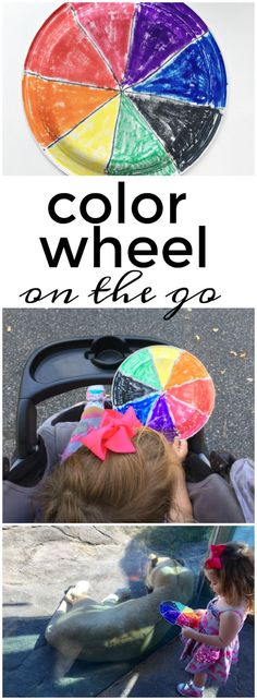This color wheel on-the-go activity is perfect for helping toddlers and preschoolers identify colors while out-and-about!  A great way to incorporate fun and learning!
