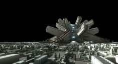 """In a distant future. Where earth is over populated and the moon turned into a sprawling city. There is a big transportation hub that makes use of railguns to """"fire"""" transport ships back to earth or to other planets, saving a lot of fuel and Space City, Minecraft Creations, Flower Shape, Cyberpunk, Futuristic, Planets, Transportation, Moon, Fire"""