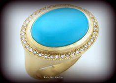 18K-Y Gold, Turquoise - Diamond Ring