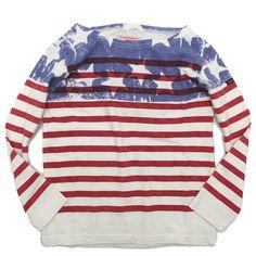 DENIM DUNGAREE(デニム&ダンガリー):テンジク アメリカ ボーダーTシャツ 1W白 の通販【ブランド子供服のミリバール】