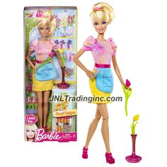 """Barbie """"I Can Be"""" Series 12"""" Doll Set - Barbie as FLORAL DESIGNER (Y7485) with Tulip Flowers, Vase and Flower Scissors"""