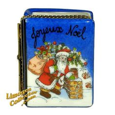 SANTA CLAUS ON ROOFTOP BOOK LIMOGES BOX (BEAUCHAMP)