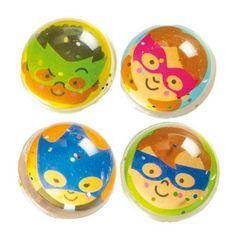 Star Hero Glitter Jet Balls for Children in 4 Assorted Designs Perfect Party Bag Filler (Pack of 4)