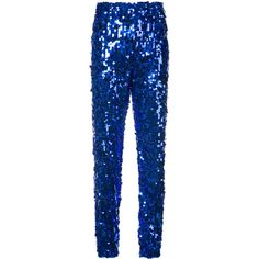 MSGM sequinned jogging bottoms ($635) ❤ liked on Polyvore featuring activewear, activewear pants, blue and msgm