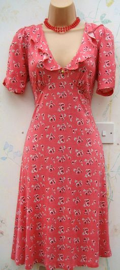 SIZE 14 VINTAGE STYLE WW2 1940s LANDGIRL CHERRY PRINT TEA DRESS ♥ US 10 EU 42