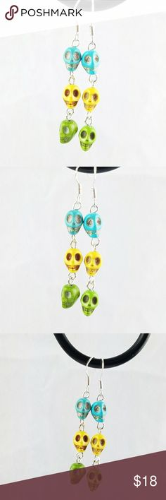 🦄BOG2FREE🦄Chained Sugar Skull Earrings .925 Sterling Silver hardware with bright colored stone sugar skulls each hand linked together. Perfect for Day Of The Day celebrations or everyday wear!   Magen's Fairytale Creations original handmade by me. Magen's Fairytale Creations Jewelry Earrings