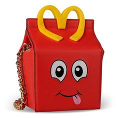 Moschino McDonald Happy Meal Women Leather Shoulder Bag Red