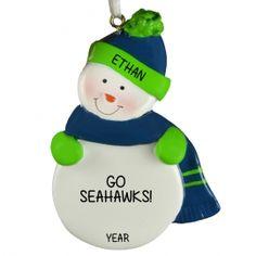 SEATTLE SEAHAWKS Snowman Personalized Ornament