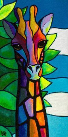 This is a fine print of the original painting. wohnung wohnideen stauraum High There Arte Pop, Pop Art, L'art Du Vitrail, Afrique Art, Giraffe Art, Giraffe Drawing, Giraffe Painting, Buddha Painting, Stained Glass Art
