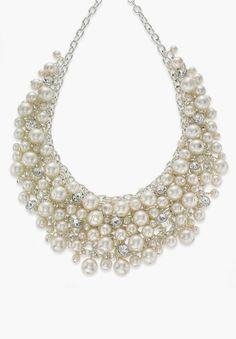 Charter Club Silver-Tone Glass Pearl Cluster Bib Necklace #sponsored
