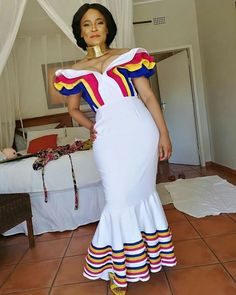 Image may contain: 1 person, standing Venda Traditional Attire, Sepedi Traditional Dresses, African Fashion Traditional, African Traditional Wedding Dress, Traditional Weddings, Latest African Fashion Dresses, African Print Dresses, African Dress, African Prints