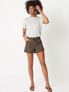 Khaki Button Cuffed Poplin Shorts   Women   George
