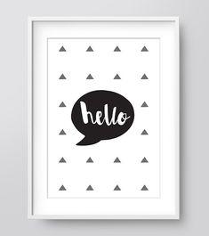 Etsy の Hello Digital Art Wall Print Printable Poster by IzzyIves Modern Artwork, Artwork Design, Typography Prints, Typography Poster, Nursery Prints, Wall Prints, Hipster Nursery, Grey Wall Art, Woodland Art